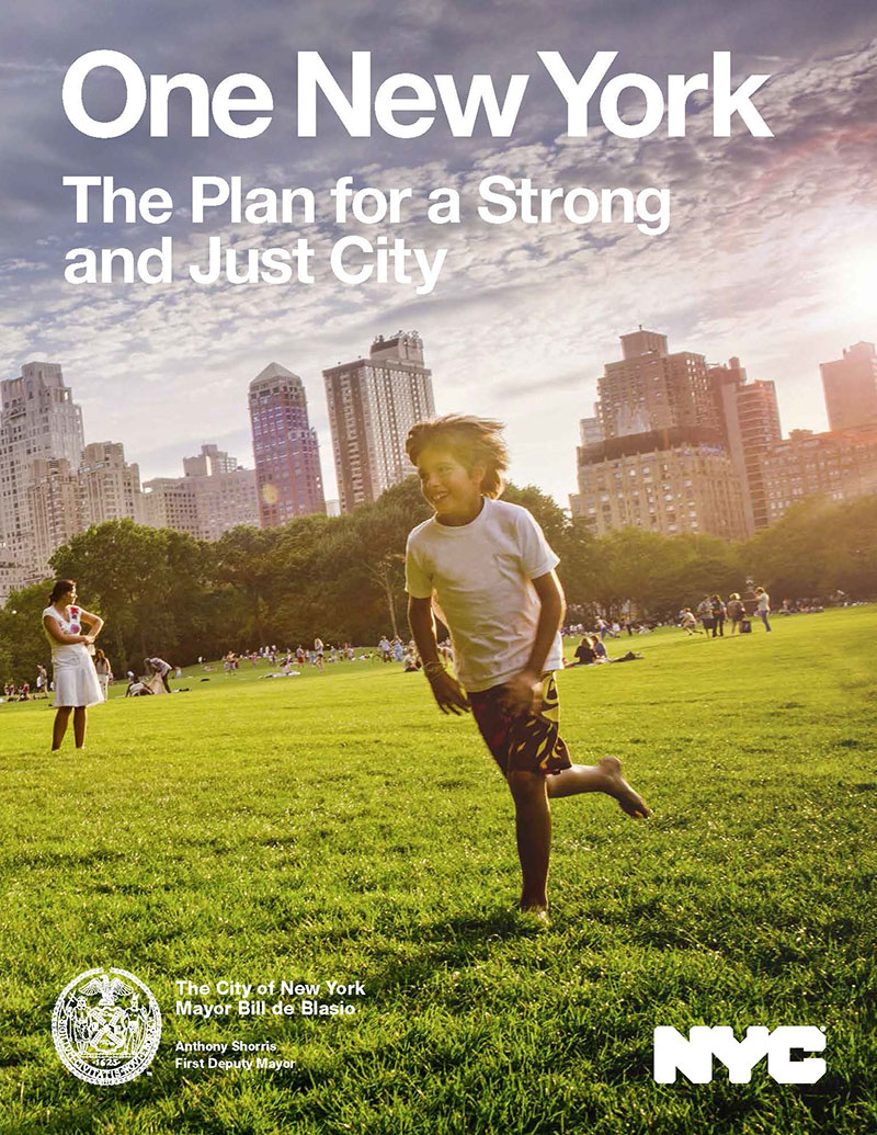 2015 report cover from nyc.gov/OneNYC; photo by Ramiro Olaciregui/Getty Images.