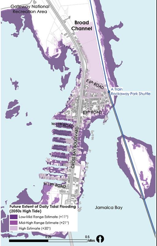 Broad Channel: extent of future daily tidal flooding based on sea level rise projections for 2050