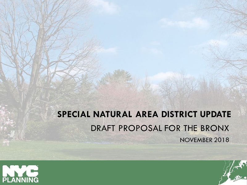 Link to Special Natural Area District Update for the Bronx