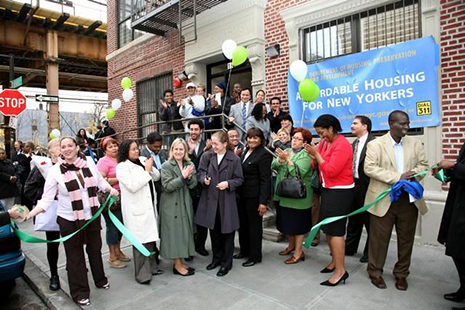 Cypress Hills Local Development Corporation celebrates the completion of a new affordable housing development. Credit: CHLDC