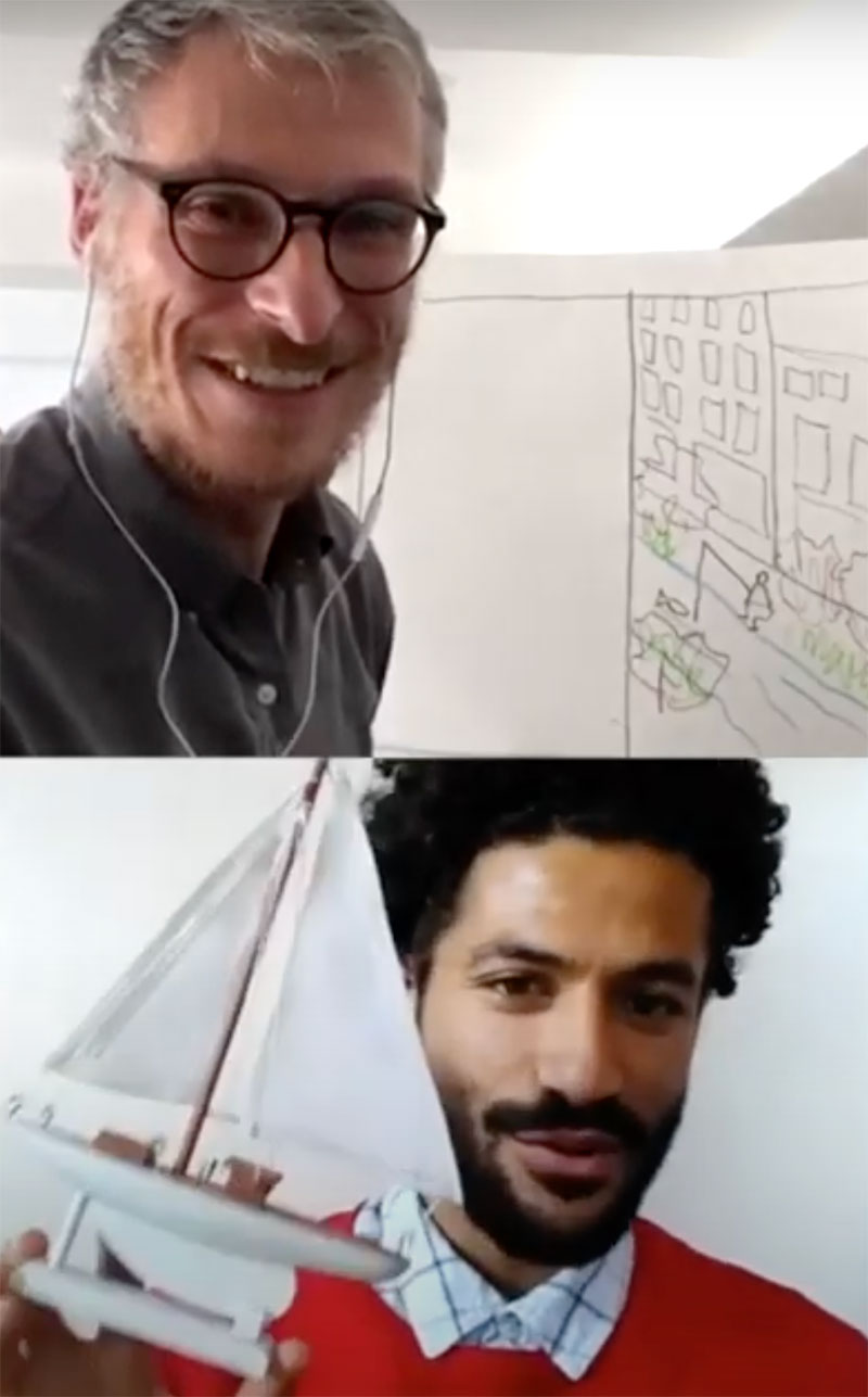 Screenshot of a Waterfront Wednesday session split in half vertically. Top view shows a man sitting in front of a sketch. Bottom view shows a man talking and holding a model boat.