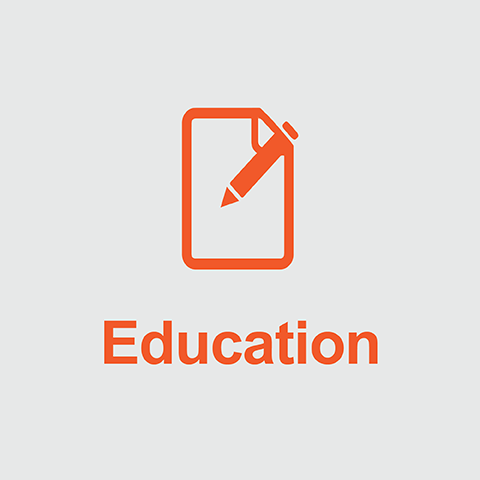 Orange notepad and pencil above the word Education