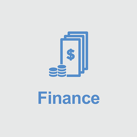 Blue dollar bills and coins above the word Finance