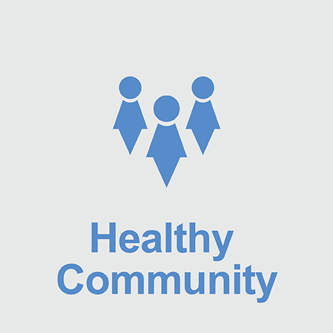 people above the words Healthy Community