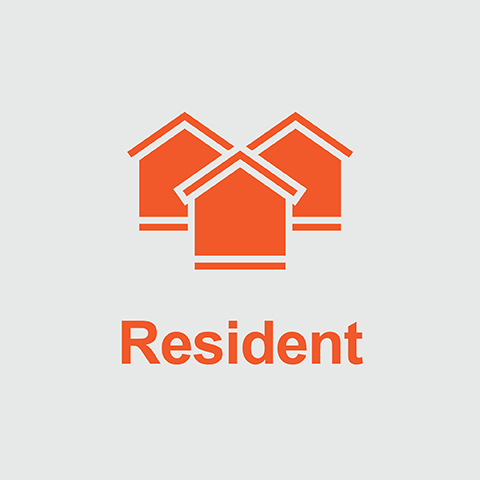 Orange houses above the word Resident