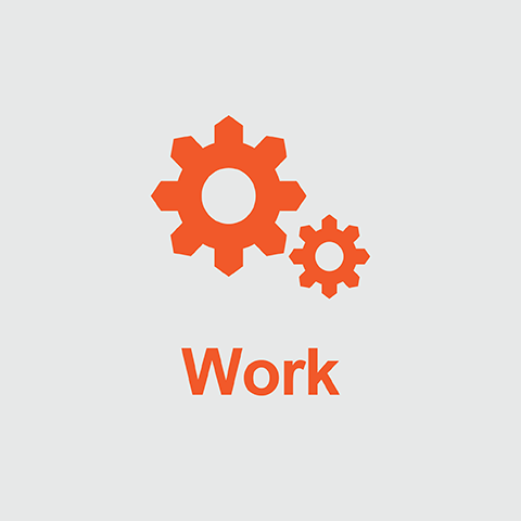Orange gears above the word Work