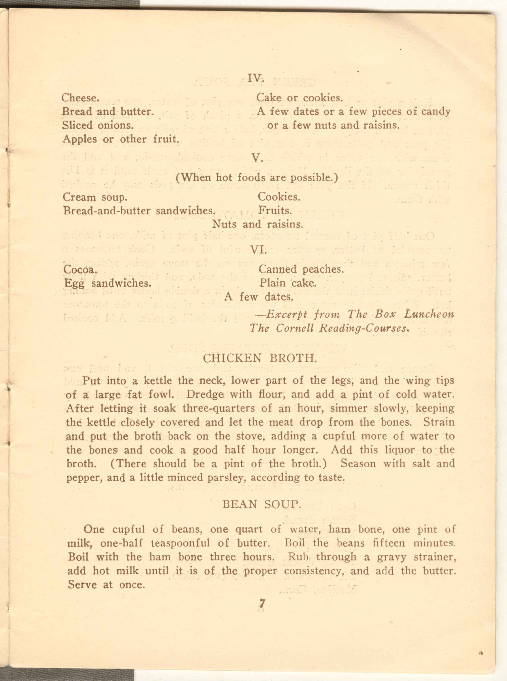 Page from a Keep Well Leaflet from the New York City Department of Health published circa 1920 titled Simple Wholesome Lunches for Working People.