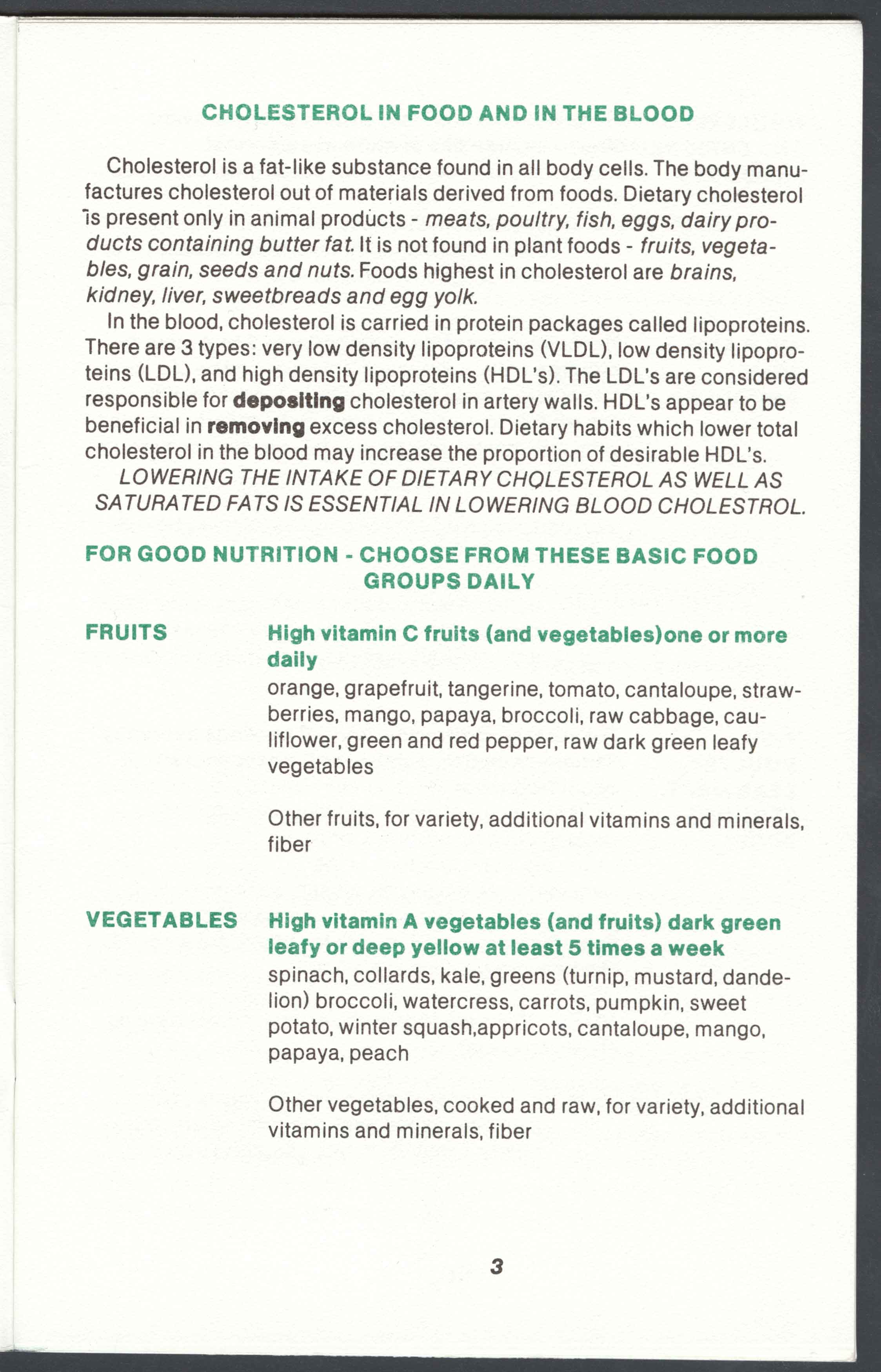 Page from The Prudent Diet from Bureau of Nutrition, Department of Health