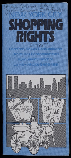A pamphlet on shopping rights from 1983 in five different languages