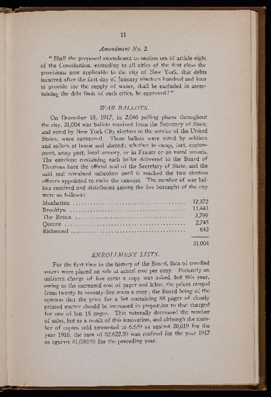 Board of Elections Annual Report of 1917 - Election Results