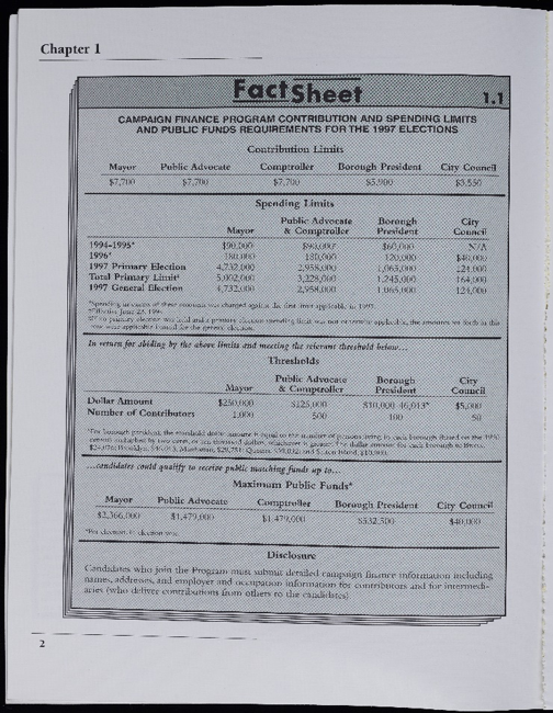 Fact Sheet from the 1997 elections