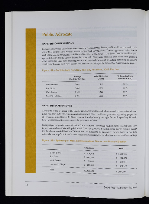 Information on contributions and expenditures of candidates for Public Advocate