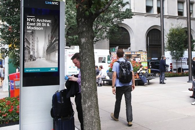LinkNYC Kiosk displaying images from the NYC Municipal Archives.