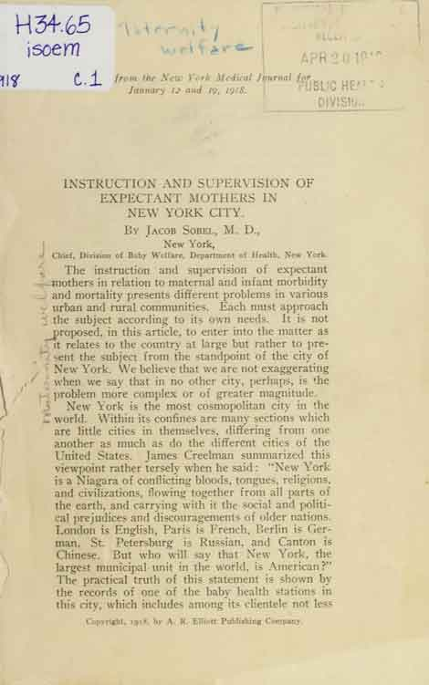 Excerpt from the Instruction and Supervision of Expectant Mothers in New York City by Dr. Jacob Sobel.
