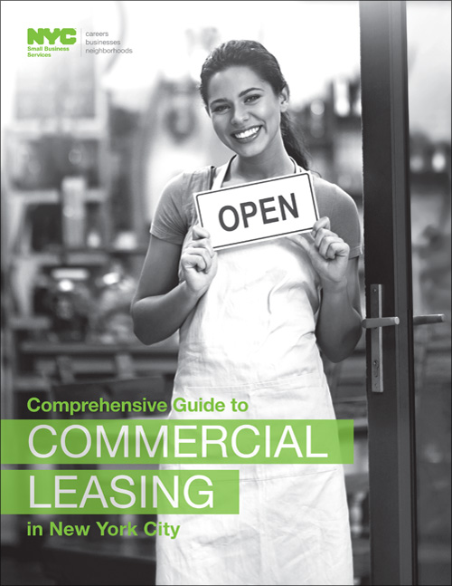 Smiling female holding an open sign in front of a storefront with name of report at bottom Comprehensive Guide to Commercial Leasing in New York City