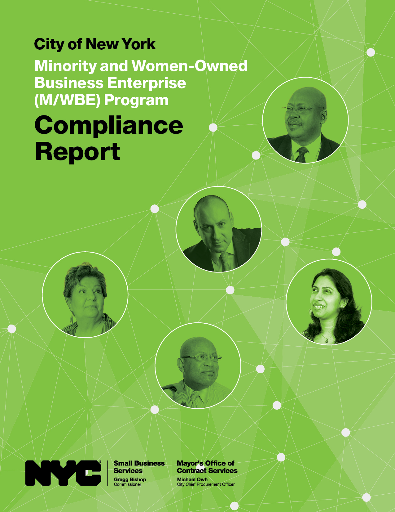 City of New York MWBE Compliance Report cover with green background featuring faces of five diverse business owners
