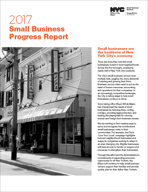 2017 Small Business Progress Report cover with photo of commercial corridor and copy from the report