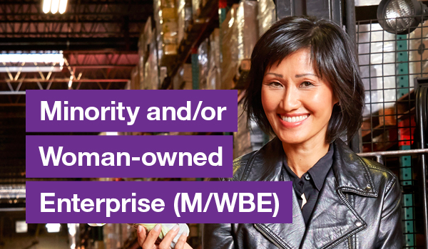 Smiling Asian woman with text on the left that says Minority and/or Woman-Owned Business Enterprise (M/WBE)