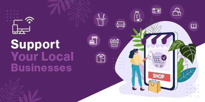 Illustration with icons of business categories and text Support Your Local Businesses