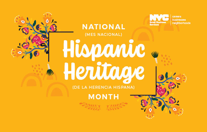 illustration with SBS logo + text in English and Spanish 'National Hispanic Heritage Month'