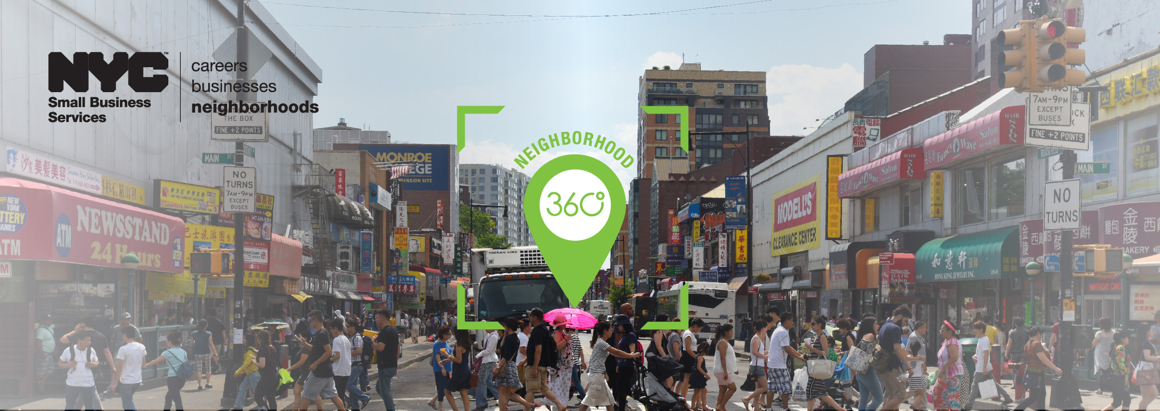 Neighborhood 360 logo with photo of Flushing commercial corridor