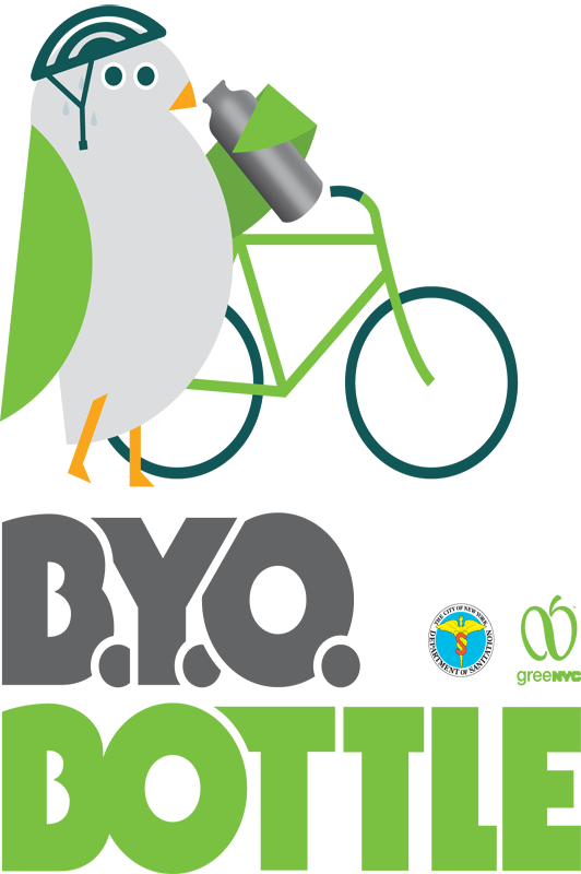 "GreeNYC mascot Birdie on a bike drinking from a bottle. Text reads: ""B.Y.O. Bottle."""
