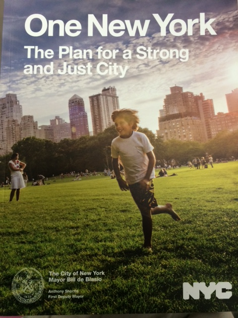 One New York poster featuring a young child running in a park