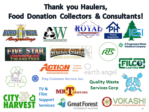 A poster thanking all food donation collectors and consultants
