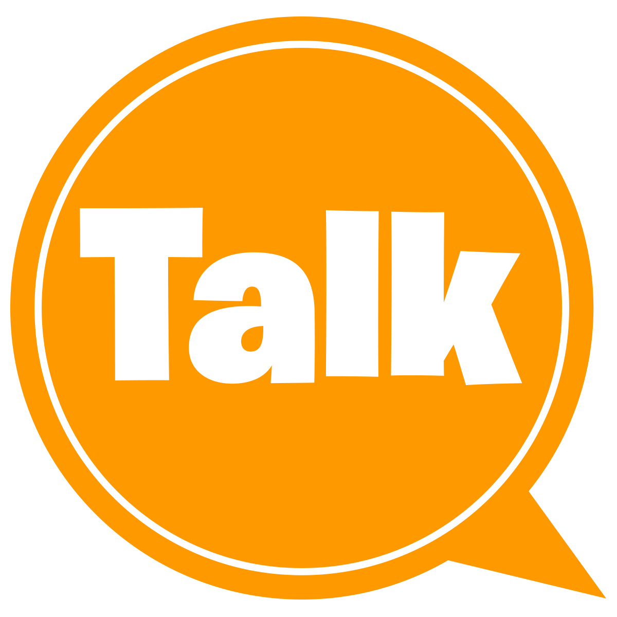 Dialog bubble containing the word 'talk'