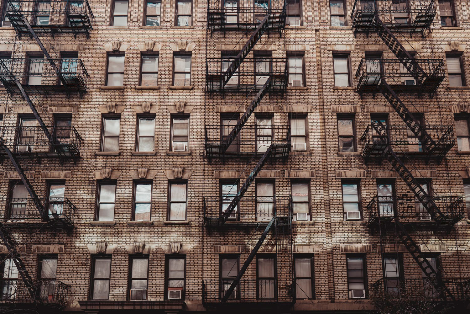 fire escapes and apartment windows