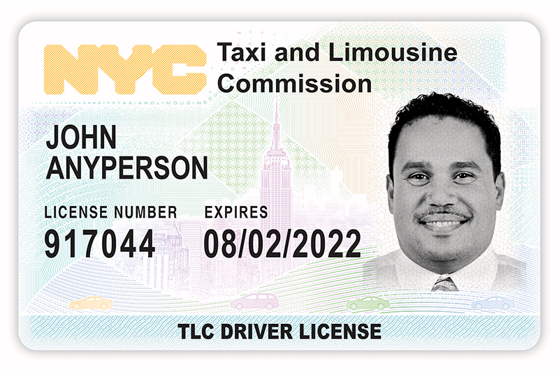 graphic for get a drivers license - an enlarged photo of a TLC Driver's License