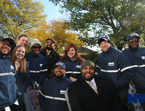 DVS staff poses cheerfully for the camera during Veterans Day festivities