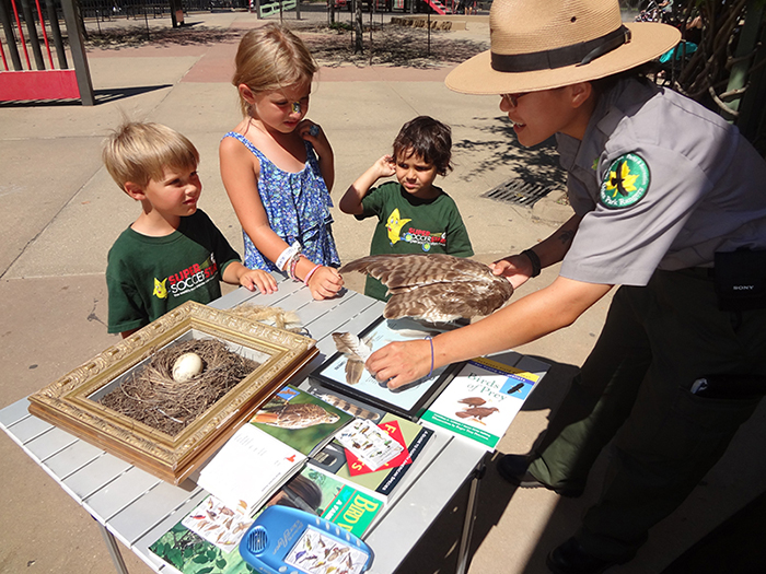 Two boys and one girl standing in front of a table that has birding pamphelts and a birds nest on it. An urban park ranger is holding some bird feathers and is teaching the children about birds of prey.