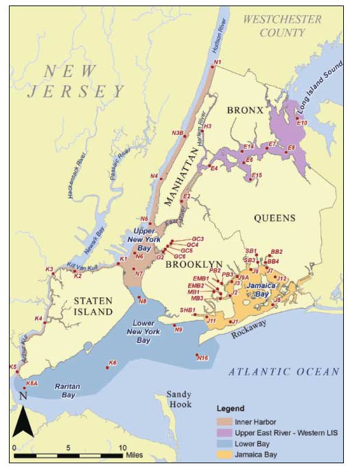 Map Of New York Harbour.New York City Department Of Environmental Protection Harbor Water