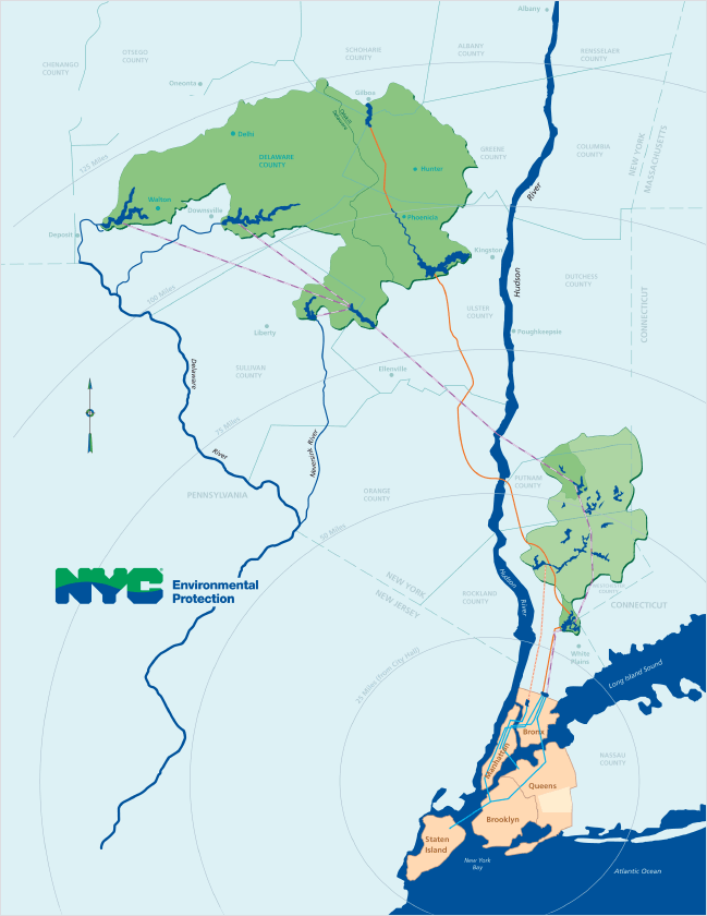 Map Of New York Waterways.Current Reservoir Levels