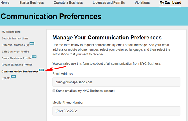 A screenshot of the Communication Preferences page.