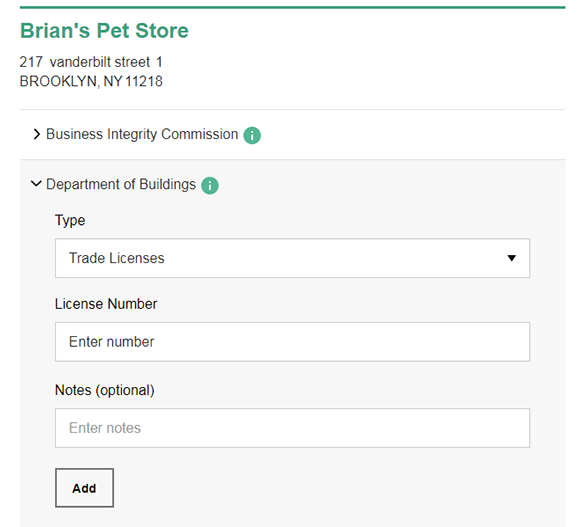 A screenshot from the Connect to Agencies form, showing a Trade License being added to a Business Location.
