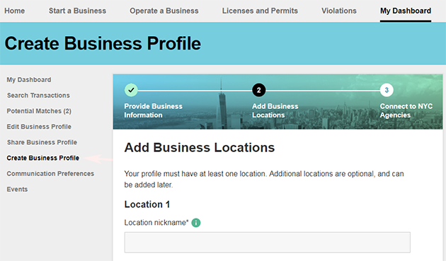 A screenshot of part two of the Create Business Profile page, with the Add Business Locations form shown.