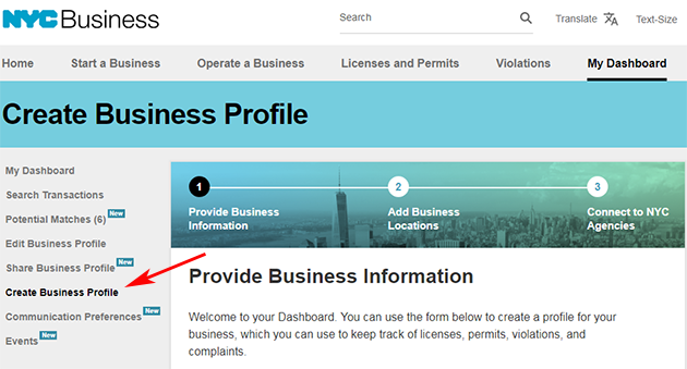 A screenshot of the Create Business Profile page.