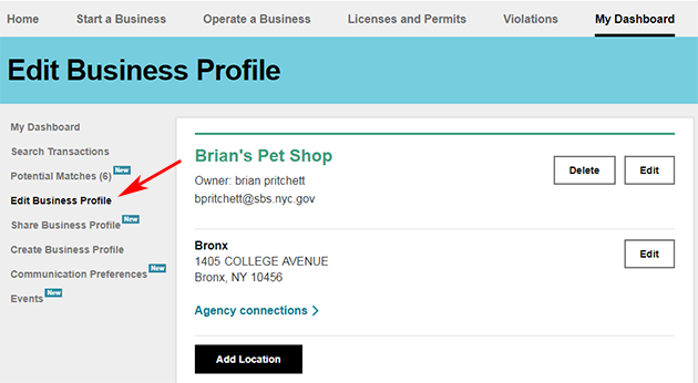 A screenshot of the Edit Profiles page.