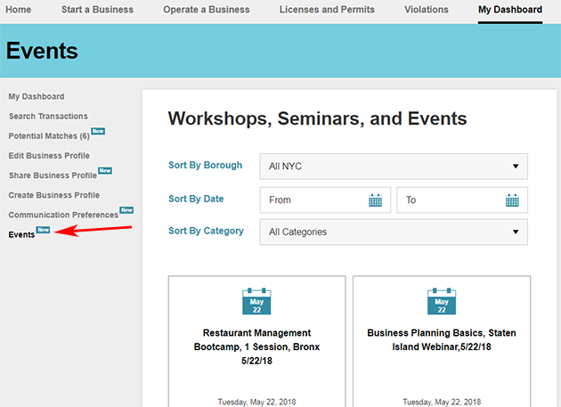 A screenshot of the Events page.