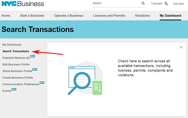 A screenshot of the Search Transactions page.