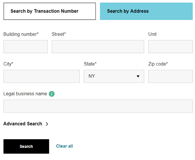 A screenshot of the Search by Address form.