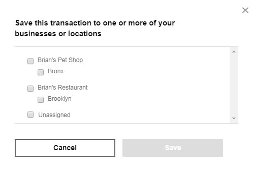 A screenshot of the window for adding transactions to profiles. It has checkboxes for each profile and location on the user's dashboard, with Cancel and Submit buttons.