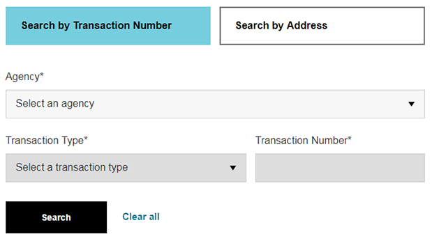 A screenshot of the Search by Transaction Number form.