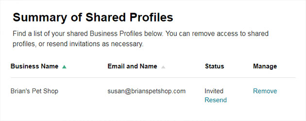 A screenshot of the Share Business Profile page.