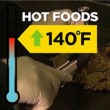 thermometer at 140F and text reading hot foods