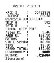 Taxi Receipts